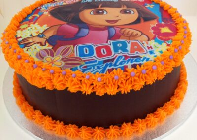 Orange & Brown Dora Birthday Cake