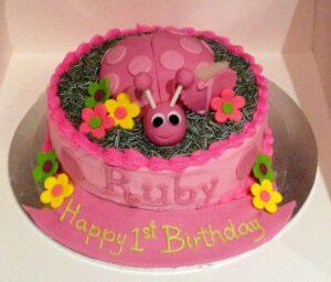 Pink Ladybug Birthday Cake