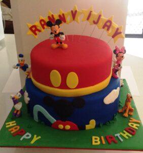 2 Tier Micky Mouse Birthday Cake