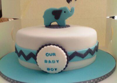 Blue White Round Baby Boy Cake