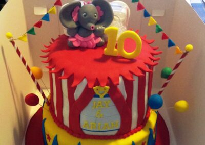 2 Tier Twins Circus Birthday Cake
