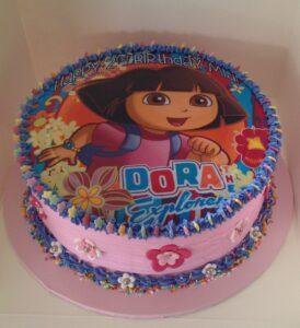 Pink Dora Birthday Cake