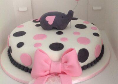 Pink & White Round Polka Cake