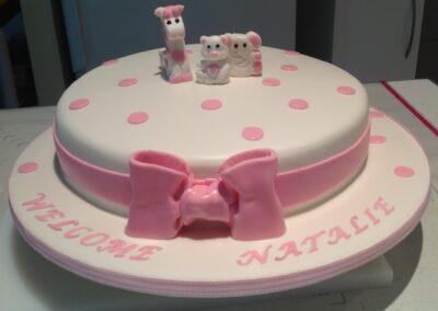 Pink & White Round Baby Cake
