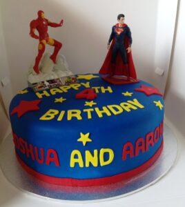 Twins Iron Man & Superman Birthday Cake