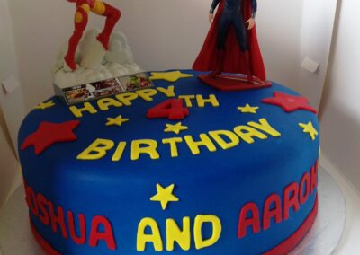Twins Iron Man & Superman Birthday Cake