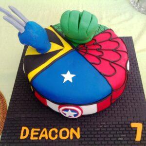 Hulk Wolverine Captian America and Spiderman Birthday Cake