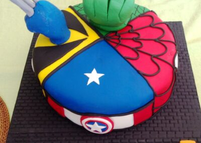 Hulk, Wolverine, Captain America and Spiderman Birthday Cake
