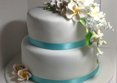19032016-Hayley-Stevens-2-tier-wedding-cake-frangipanis