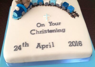 Blue & White Boy Christening Cake