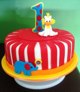 Red White Round Boy Birthday Cake