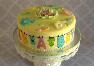 Yellow Round Baby Shower Cake