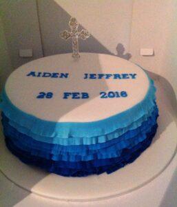 Aiden Blue & White Round Christening Cake