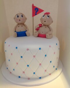 White Round Gender Reveal Baby Shower Cake