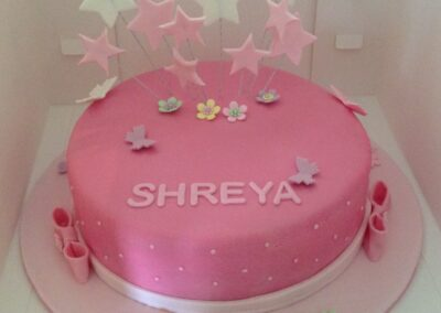 Pink Round Girls Birthday Cake with Stars
