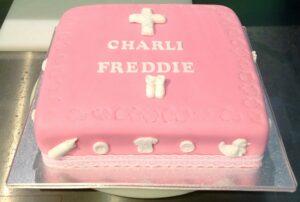 Pink Square Christening Cake