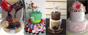 A selection of 4 birthday cakes for adults