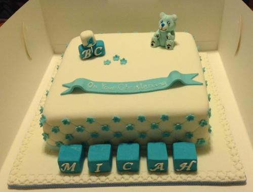 Blue & White White Square Christening Cake