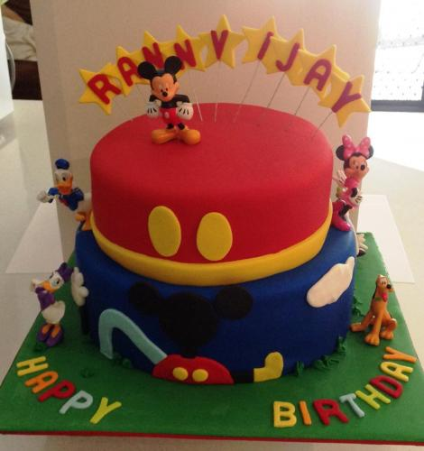 2 Tier Micky Mouse Birthday Cake