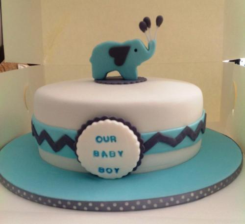 Blue & White Baby Cake
