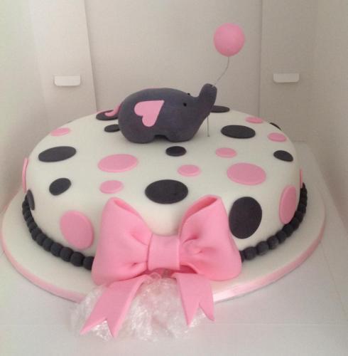 Pink & White Polka Cake