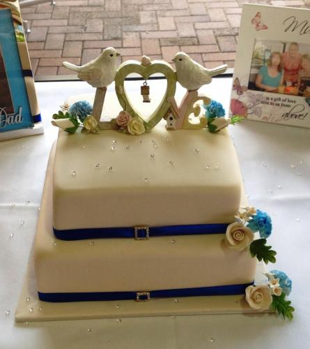 Two Teir Square Wedding Cake Ivory Icing