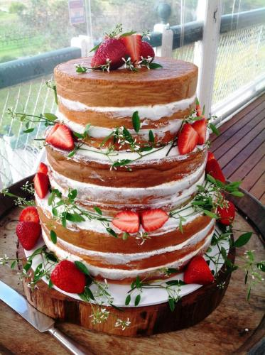 Strawberry Wedding Cake with No icing
