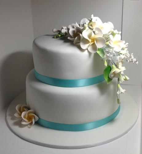19032016-Hayley-Stevens-2-tier-wedding-cake-frangipanis