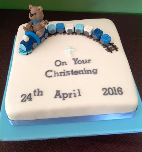 Blue & White Christening Cake