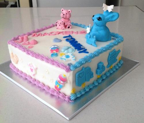 Pink & Blue Gender Reveal Cake