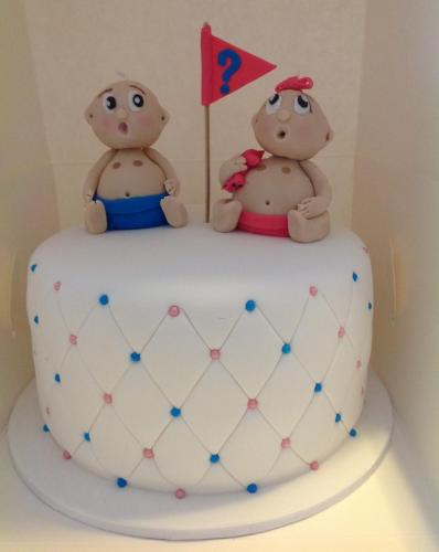 White & Blue Gender Reveal Cake