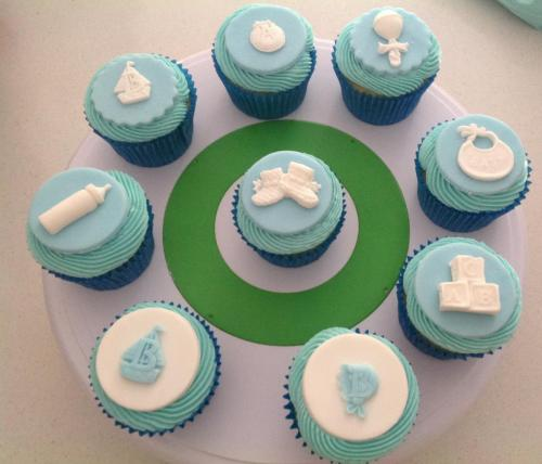 Blue & White Baby Cup Cakes