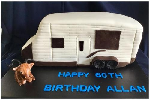 3D caravan and goat 60th Birthday Cake