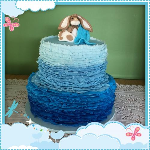 Blue Tiered Baby Cake