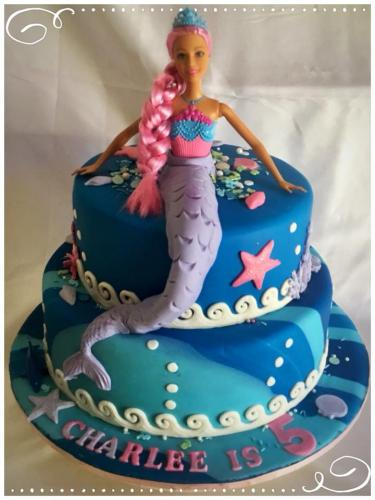 Mermaid Barbie 2 tier birthday cake