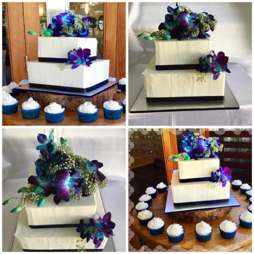 Wedding Cakes 2 tier square, gluten and dairy free vegan cupcakes
